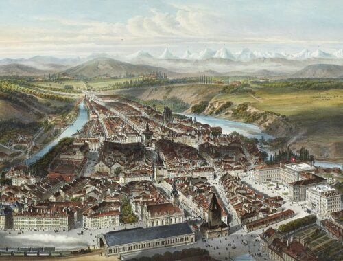"""Bern in 1858"", Charles Fichot, Swiss National Library, GS-GUGE-FICHOT-A-1, domena publiczna."